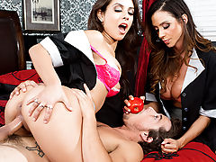 Better not mess with these babes. Tyler Nixon thinks he's so smart, making a mess in his hotel room for the two Latina maids Ariella Ferrara and Jynx Maze to clean up. But when they find that perv spying on their tight bodies from the closet, they decide