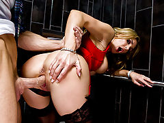 Tanya Tate is on a boring date, and the horny couple the next table over can barely keep their hands off of each other. Their public displays make Tanya so horny that she starts rubbing her clit through her lace panties while she's still sitting at the di