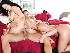 Gorgeous Jayden Jaymes and Phoenix Marie are both horny and decide to have hot sex with one big cocked guy.