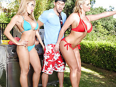 2 gorgeous babes Capri Cavanni and Phoenix Marie decide they want a threesome with big cocked cook.