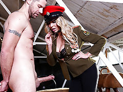 Jay Snake is a fresh recruit on his first day of boot camp, and he's pretty nervous about meeting his drill sergeant. Imagine his surprise, then, when busty blonde Lexi Lowe walks in! She's sizing up all the newbies when she notices Jay's big dick and ord