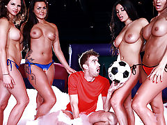 Today in the always exciting Soapy Soccer League, we've got a match for the ages: the busty babes of the UK against buxom beauties Anissa Kate and Franceska Jaimes, representing the entire rest of Europe! It's a close game, but in the end it's Anissa and