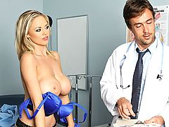 Katie Kox is one crazy patient. After hitting her head, she's brought to the doctor's office for a checkup and what our doctor discovers is an extreme libido she's got an insatiable hunger for his cock. She pleads and fights with him until our doctor can