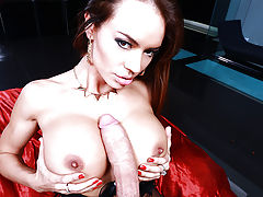 Franceska Jaimes has a hot night planned with a mysterious stranger. She went to his place and immediately got into her sexiest lingerie. She put on a show for him, shaking her ripe ass as she stripped down so slowly, and rubbing down her pussy. By the ti