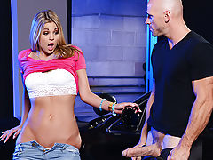 Scarlet Red is a bratty teen slut who has no respect for her cop father. He's trying to teach her a little courtesy when he gets a call from dispatch alerting him to an extremely dangerous escaped criminal close to his location. Ever the dutiful officer,