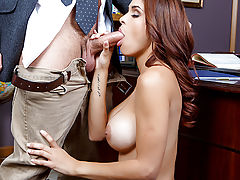 Busty Latina Jasmine Caro has had a crush on her boss Preston Parker for a while now, but he's always so wrapped up in his work that he never seems to notice her advances! But when she accidentally tears her shirt up while playing with her tight little pu