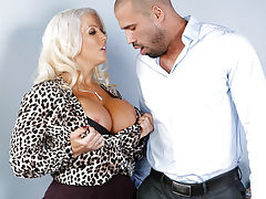 Alura Jenson is a hot busty blonde sexuality teacher. Karlo seeks her advice since sex is her expertise. He hasnt been able to perform in bed lately. Alura can definitely help with that. She believes in the more hands on approach to teaching and boy does