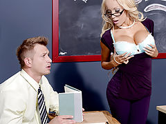 Better be on your best behavior when you step into Mrs. Breanna Sparks's class. She doesn't take any guff from anyone, even though she dishes it out all class long. Turns out, the whole time this rude Milf was sassing her handsome student Bill, it was jus
