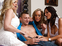 Ava Addams, Brandi Love & Julia Ann are all horny for one lucky guys cock so they have hot orgy.