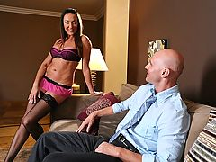 Recent divorcee, Michelle is back on the prowl after taking her ex-husband for everything he's got. This cougar's newest victim: Johnny. So when this mature slut lures him back to her place, she is more then willing to pry his pants of and chomp down on s