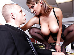 It's almost quitting time at work, and David's mind is starting to wander. There's a busty blonde named Katerina  across the office with some incredible cleavage that he just can't take his eyes off of, and he keeps finding himself imagining those big tit