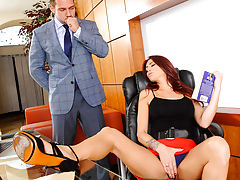 Monique Alexander is being naughty in the office. Shes playing with her pretty little pussy when her boss walks in. Monique confesses that she couldnt help herself after losing herself in the fantasy of the romance novel she was reading. Her boss thinks t