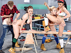 When Danny D falls off a ladder in the shop, he hits his head and starts to have the most wonderful dream: three of the hottest busty babes, Krissy Lynn, Mia Lelani, and Romi Rain, teasing him with skimpy outfits and power tools. Not one to waste an oppor